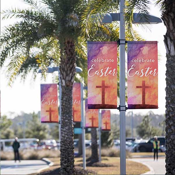 easter light pole banner for church parking lot