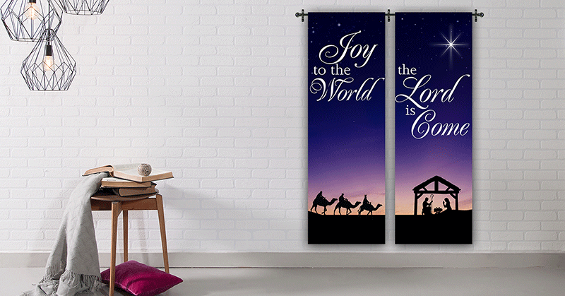 christmas banners in fabric and vinyl for indoor and outdoor.