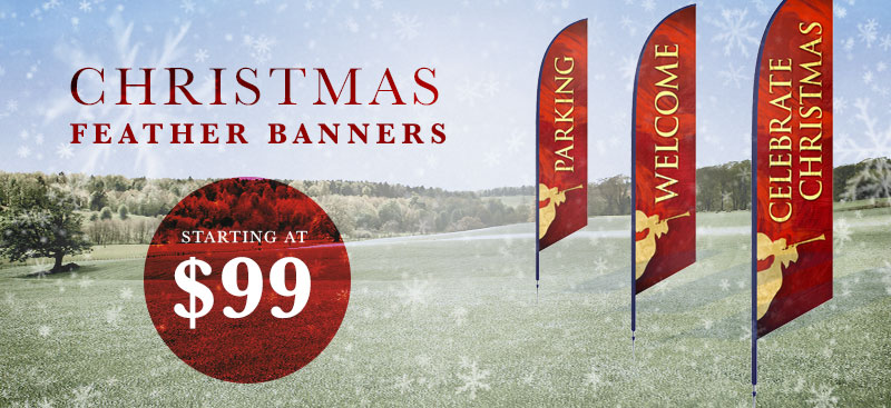 christmas feather flags