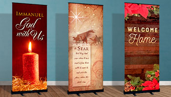 church christmas rollup banners