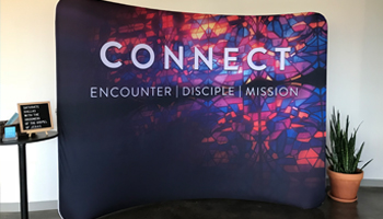 church backdrop banner for welcome center