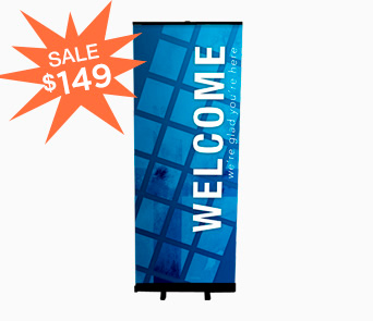custom retractable church banner stand