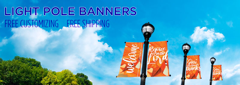 fall worship light pole banners