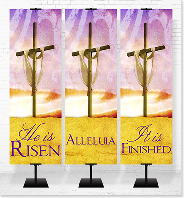 various size Easter banners in fabric