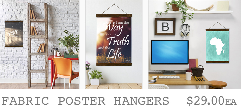 Fabric posters with wooden hangers
