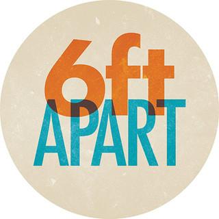 6 Feet Apart Circle Floor Decal - Adhesive Vinyl Sticker