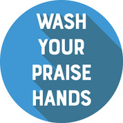 Praise Hands Circle Floor Decal - Adhesive Vinyl Sticker