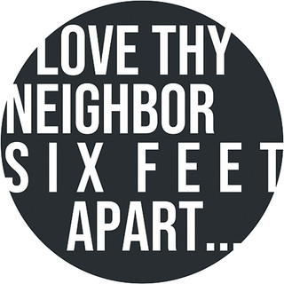 Six Feet Apart Circle Floor Decal - Adhesive Vinyl