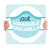 COVID ReOpen Handheld - Style 8 Spanish - Qué Agradable Mascarilla