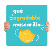 COVID ReOpen Handheld - Style 10 Spanish - Qué Agradable Mascarilla