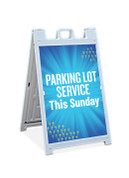 Sandwich Sign - Blue Sunburst Parking Lot