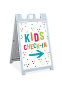Sandwich Sign - Kids Check-In Dots 1