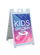 Sandwich Sign - Kids Check In Blue and Pink