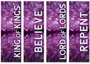 Set of 4 Purple Stained Glass Lent Banners