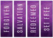 Set of 4 Purple Concrete Lent Banners