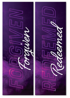 Set of 2 Purple Modern Clouds Lent Banners