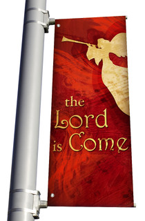 The Lord is Come Red Christmas CHurch Banner