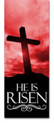 3x8 E015 He Is Risen Red