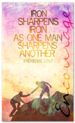 Proverbs 27:17 Iron Sharpens Iron - Encouraging church banner