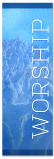 Blue worship banner - Christian Church Banner