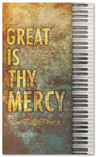 Worship church banner - Great is thy Mercy with Piano