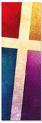 2x6 Multicolor patterned Church banner with Cross