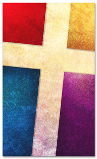 3x5 Multicolored patterned Church banner with Cross