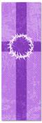 2x6 Christian Church banner - Purple Striped Crown of Thorns