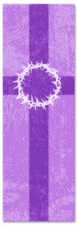 2x6 Christian Church banner - Purple Striped Crown of Thorns