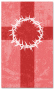 3x5 Patterned Church banner - Red Striped Crown of Thorns