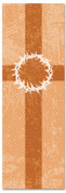 2x6 Patterned Church banner - Rust Striped Crown of Thorns