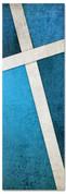 Blue Cross Stitch 2x6 Christian church banner pattern