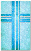 Blue Floral patterned christian church banner