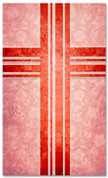 Red Victorian Floral pattern christian church banner