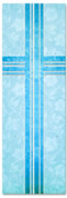 Blue Victorian Floral patterned Church banner