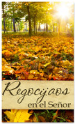 Regocijaos en el Senor - Spanish church banner for fall harvest