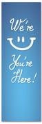 Blue children's ministries church banner - smiley face