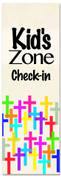 Kid's zone check-in banner for Children's ministries