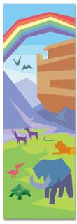 Children's Bible Story banner of Noah's Ark with Rainbow