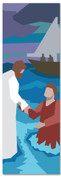 Kids' Bible Story banner of Jesus walking on water