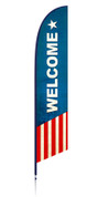Patriotic feather flag welcome banner