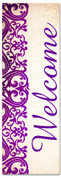 purple victorian welcome banner