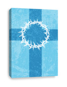 Christian Canvas Print of cross and thorns in blue