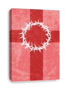 Red striped Canvas Print of cross and thorns
