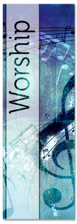 Christian Worship Banner - Blue musical notes