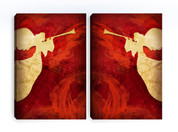 Angels Red - Christian Canvas Prints - 2 pack