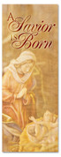 A Savior is Born Christmas Banner for church - 3x8 ft - Beige