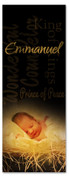 3x8 black background baby Jesus Christmas banner - Emmanuel