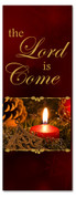 3x8 seasonal Christmas banner - Dark Red - The Lord is Come
