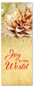 3x8 snowy pinecone Xmas church banner - Joy to World